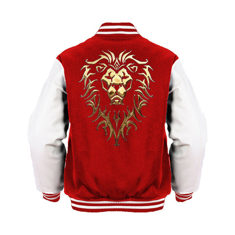 Warcraft Alliance Logo Metallic Official Varsity Jacket (Red)