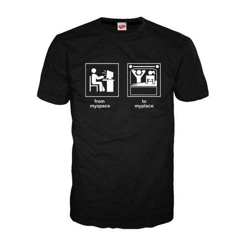 From Myspace to Myplace - Adult Joke T-shirt (Black) - Urban Species Mens Short Sleeved T-Shirt