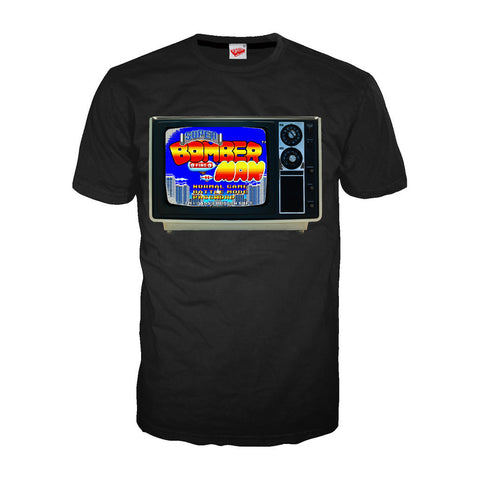 Bomberman TV Screen Official Men's T-shirt (Black) - Urban Species Mens Short Sleeved T-Shirt