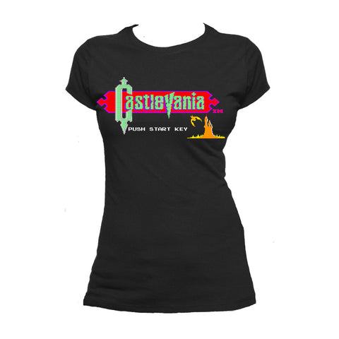 Castlevania Title Screen Official Women's T-shirt (Black) - Urban Species Ladies Short Sleeved T-Shirt
