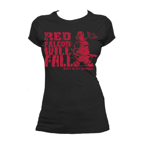 Contra Propaganda Red Falcon Official Women's T-shirt (Black) - Urban Species Ladies Short Sleeved T-Shirt