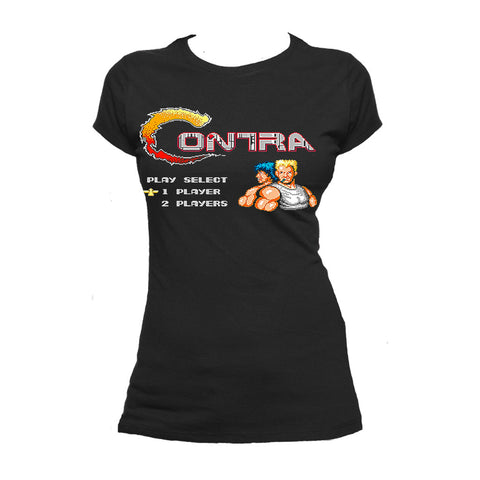 Contra Title Screen Official Women's T-shirt (Black) - Urban Species Ladies Short Sleeved T-Shirt