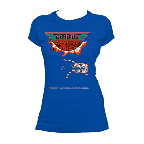 Gradius Screenshot Boss Warship Official Women's T-shirt (Royal Blue) - Urban Species Ladies Short Sleeved T-Shirt
