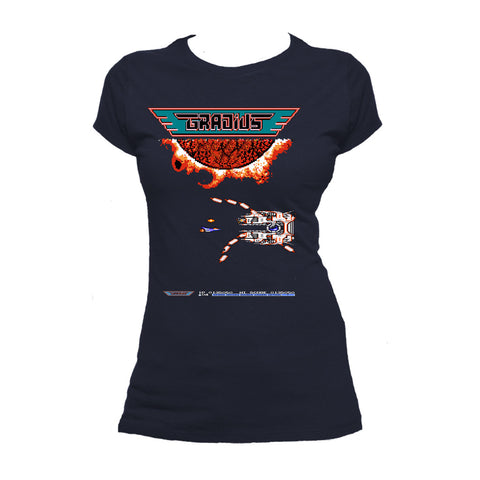 Gradius Screenshot Boss Warship Official Women's T-shirt (Navy) - Urban Species Ladies Short Sleeved T-Shirt