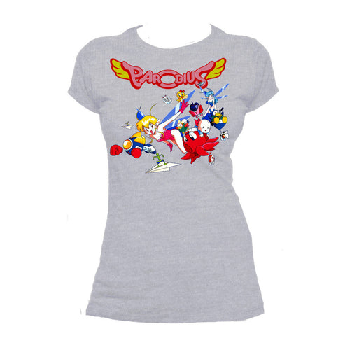 Parodius Box Art Official Women's T-shirt (Heather Grey) - Urban Species Ladies Short Sleeved T-Shirt