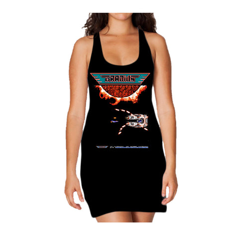 Cool New Gradius Screenshot Boss Warship Official Women's Black Long Tank Dress - Urban Species
