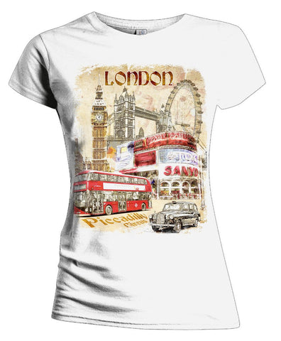 London Fusion Picadilly Circus Women's T-shirt (White) - Urban Species Ladies Short Sleeved T-Shirt