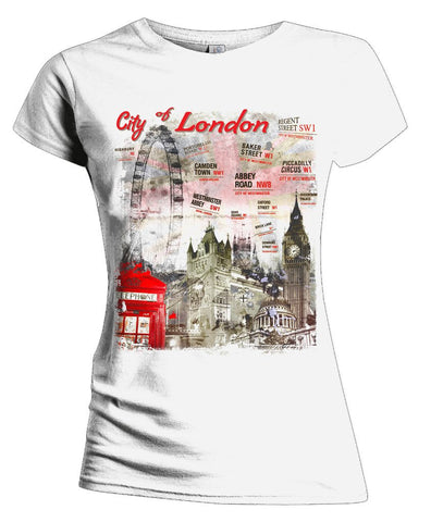 London Fusion Street Signs Women's T-shirt (White) - Urban Species Ladies Short Sleeved T-Shirt