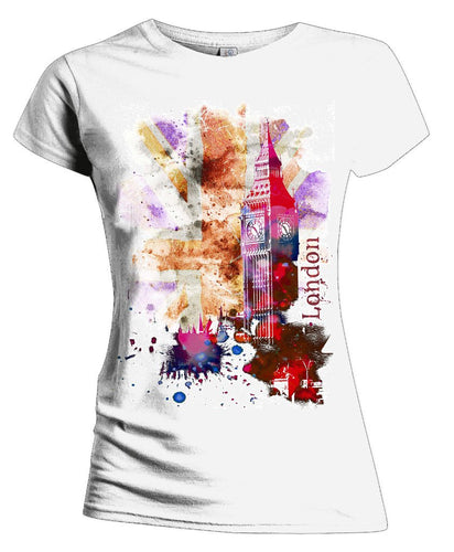 London Fusion Union Jack Women's T-shirt (White) - Urban Species Ladies Short Sleeved T-Shirt