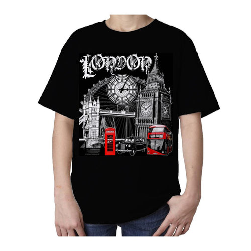 Kids London Technicolour T-shirt (Black) - Urban Species Kids Short Sleeved T-Shirt