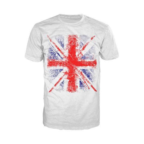 London Union Jack Distressed Men's T-shirt (White) - Urban Species Mens Short Sleeved T-Shirt