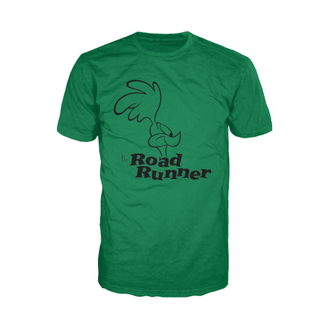 Looney Tunes Road Runner +Logo Profile Official Men's T-Shirt (Green)
