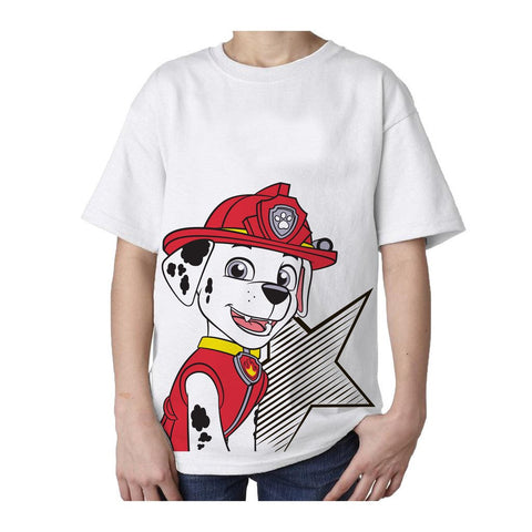 Paw Patrol Marshall Star Official Kid's T-Shirt (White AOP)