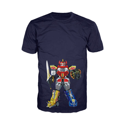 Power Rangers Megazord Deco Official Men's T-shirt (Navy)