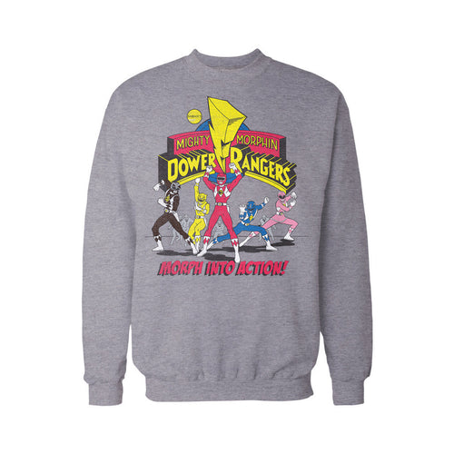 Power Rangers Logo Morph Into Action Official Sweatshirt (Heather Grey)