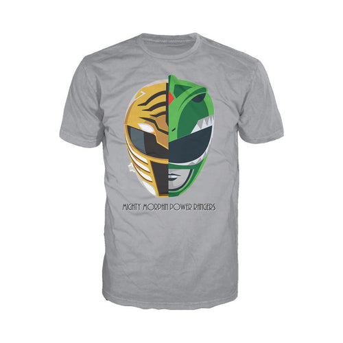 Power Rangers White-Green Ranger Face Off Official Men's T-shirt (Heather Grey)