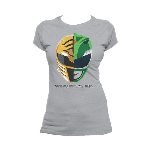 Power Rangers White-Green Ranger Face Off Official Women's T-shirt (Heather Grey)