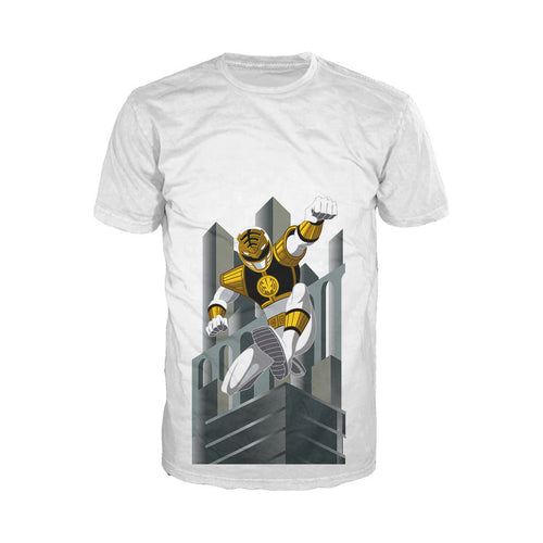Power Rangers White Ranger Deco Official Men's T-shirt (White) - Urban Species Mens Short Sleeved T-Shirt
