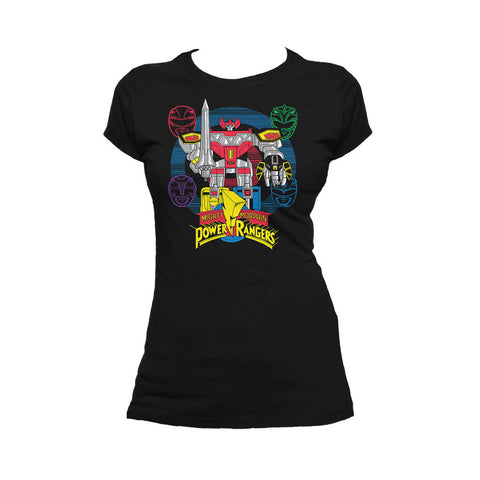 Power Rangers Logo Four Heads Megazord Official Women's T-shirt (Black)