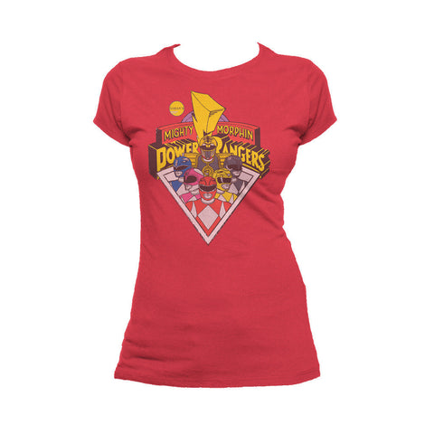Power Rangers Logo Group Official Women's T-shirt (Red) - Urban Species Ladies Short Sleeved T-Shirt