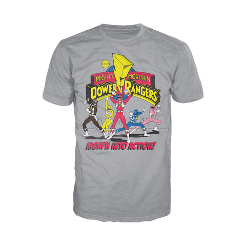 Power Rangers Logo Morph Into Action Official Men's T-shirt (Heather Grey)