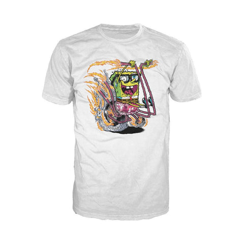 SpongeBob SquarePants Comic Bike Official Men's T-Shirt (White) - Urban Species Mens Short Sleeved T-Shirt