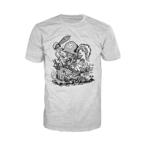 SpongeBob SquarePants Comic Pirate Official Men's T-Shirt (Heather Grey)