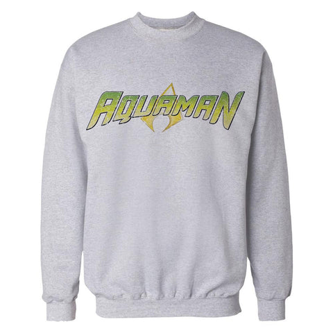 DC Comics Aquaman Distressed Logo Official Sweatshirt (Heather Grey) - Urban Species Mens Sweatshirt