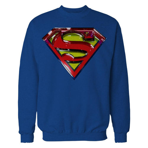 DC Comics Superman Logo Glass Official Sweatshirt (Royal Blue) - Urban Species Mens Sweatshirt