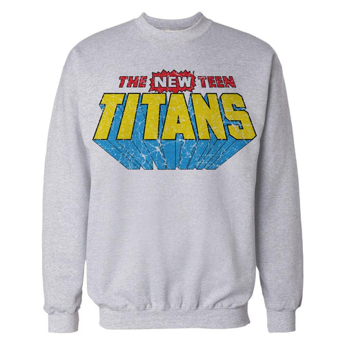 DC Comics New Teen Titans Distressed Logo Official Sweatshirt (Heather Grey) - Urban Species Mens Sweatshirt