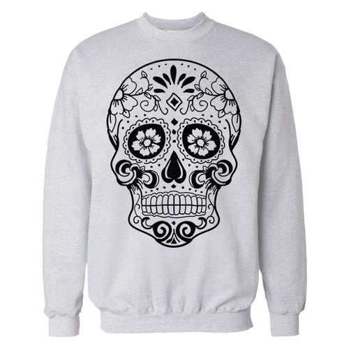 Sugar Skull Men's Sweatshirt (Heather Grey) - Urban Species Mens Sweatshirt
