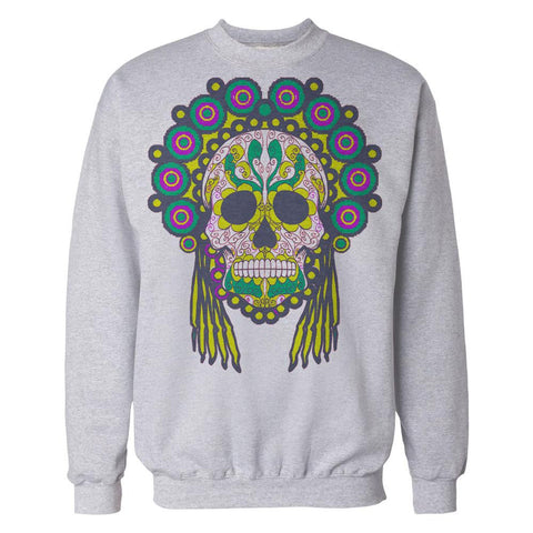 Sugar Skull Head Dress Skull Men's Sweatshirt (Heather Grey)