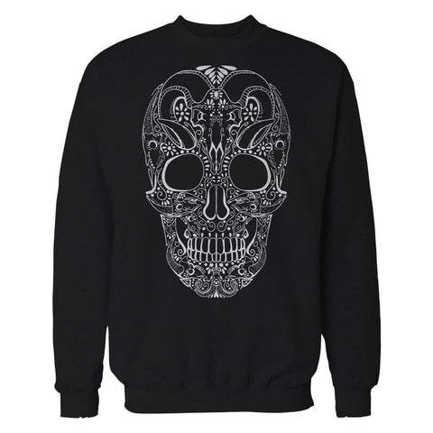 Sugar Skull Tattoo Skull Men's Sweatshirt (Black) - Urban Species Sweatshirt