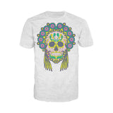 Sugar Skull Head Dress Skull Men's T-shirt (Heather Grey)