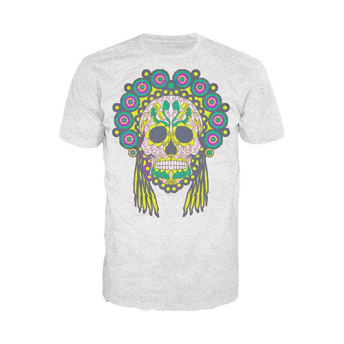 Sugar Skull Head Dress Skull Men's T-shirt (Heather Grey) - Urban Species Mens Short Sleeved T-Shirt
