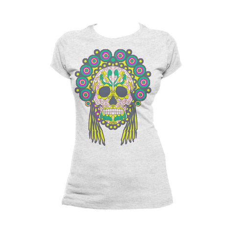 Sugar Skull Head Dress Skull Women's T-shirt (Heather Grey) - Urban Species Ladies Short Sleeved T-Shirt