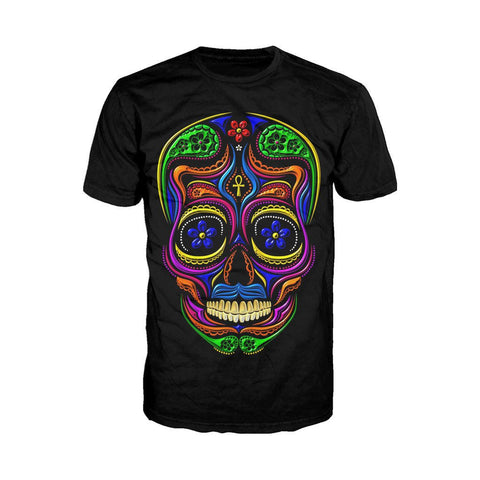Sugar Skull Mexican Skull Men's T-shirt (Black) - Urban Species Mens Short Sleeved T-Shirt