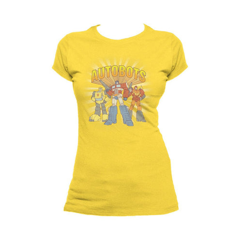 Transformers Autobot Heroes Sunburst Official Women's T-shirt (Yellow) - Urban Species Ladies Short Sleeved T-Shirt