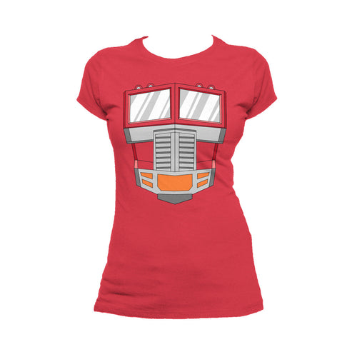 Transformers Cosplay Optimus Prime Official Women's T-shirt (Red) - Urban Species Ladies Short Sleeved T-Shirt
