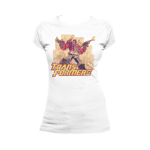 Transformers Prime Montage Official Women's T-shirt (White)
