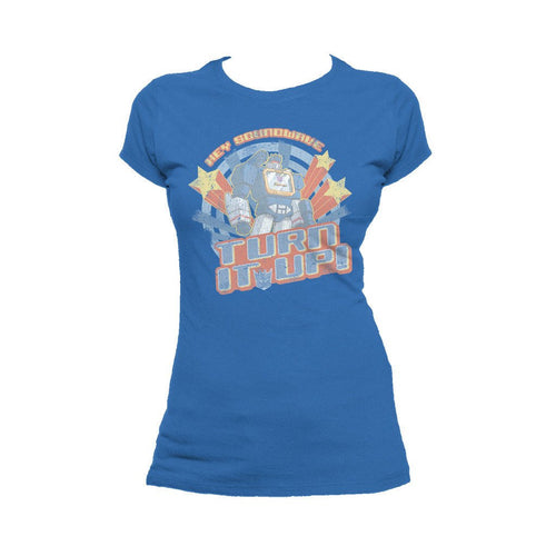 Transformers Soundwave Turn It Up Official Women's T-shirt (Royal Blue) - Urban Species Ladies Short Sleeved T-Shirt