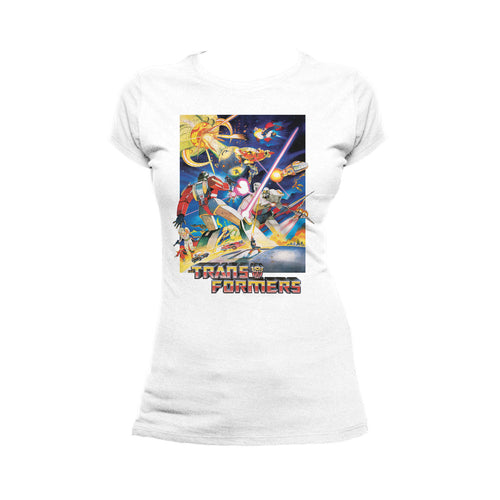 Transformers G1 1986 Movie Poster Official Women's T-shirt (White) - Urban Species Ladies Short Sleeved T-Shirt