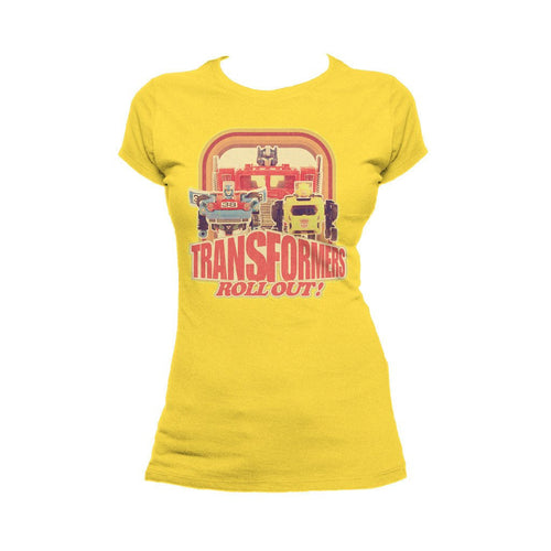 Transformers Toy TF Roll Out Official Women's T-shirt (Yellow) - Urban Species Ladies Short Sleeved T-Shirt