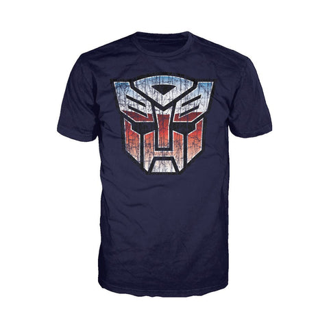 Transformers Autobot Shield Distressed Official Men's T-shirt (Navy)