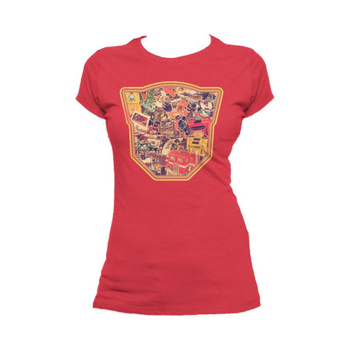 Transformers Autobot Montage Logo Official Women's T-shirt (Red)
