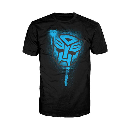 Transformers Autobots Stencil Official Men's T-shirt (Black) - Urban Species Mens Short Sleeved T-Shirt