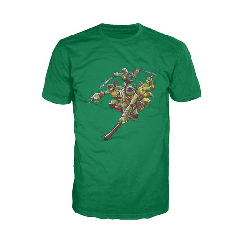 TMNT Group Attack Official Men's T-shirt (Green)