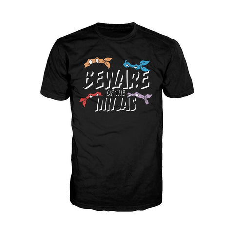 TMNT Group Beware of Ninjas Official Men's T-shirt (Black)