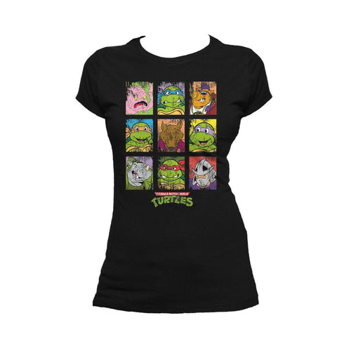 TMNT Group Grid Dist Official Women's T-shirt (Black) - Urban Species Ladies Short Sleeved T-Shirt