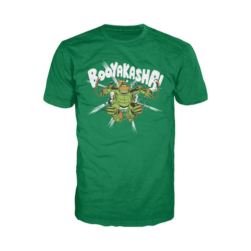 TMNT Mikey Booyakasha Official Men's T-shirt (Green)